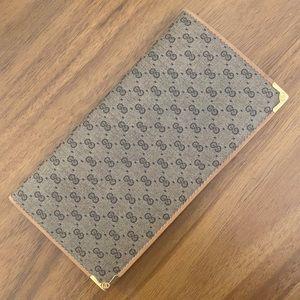 Vintage 80s Gucci GG Monogram Checkbook Wallet